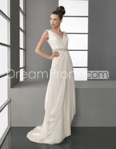 US $214.09 Gorgeous V-Neckline Empire Floor-Length Asymmetry Wedding Dresses 2014 New Style