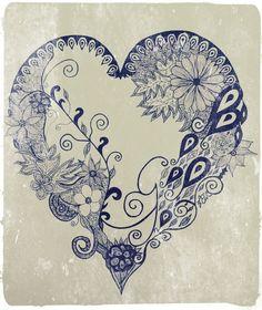 Heart (original in black fine liner - digitally enhanced) by Leigh Ellen Williams - leighwatessential@live.com