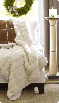 white fur throw