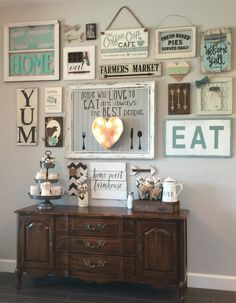 DIY Farmhouse Living Room Wall Decor www.goodnewsarchi… DIY Farmhouse Living Room Wall Decor www. Kitchen Gallery Wall, Gallery Walls, Kitchen Wall Sayings, Wall Decor For Kitchen, Coffee Kitchen Decor, Living Room Gallery Wall, Rustic Gallery Wall, Antique Kitchen Decor, Art Gallery