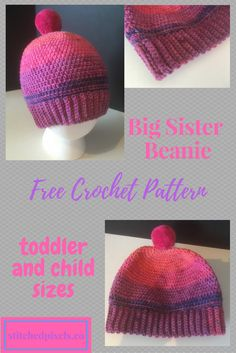 Based off the Jayden Baby Hat, made with Caron Cupcakes in toddler and child sizes.  Free crochet pattern.