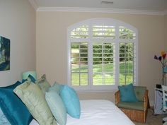 White Wood #Shutters to add the final touch to your bedroom. http://sandiego-shutters.com/