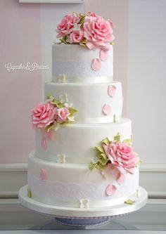 Tarta de boda Rosas y encaje | Tartas y Galletas
