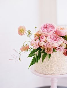 Beaded rose topped wedding cake: http://www.stylemepretty.com/2016/11/02/wedding-inspired-by-pantone-colors/ Photography: Ben Q - http://benqphotography.com/