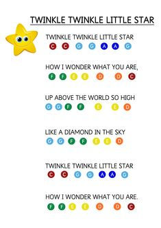 Learn Piano Keyboard Twinkle Twinkle Litter Star - Easy Piano Music Sheet for Toddlers. How to teach young children to play music keyboard using coloured stickers. Easy Piano Songs, Easy Piano Sheet Music, Kids Songs, Piano Music, Keyboard Sheet Music, Keyboard Piano, Piano Keys, Musik Keyboard, Keyboard Noten