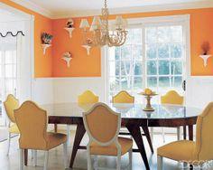 Orange Dining Room Decorating Rooms Walls