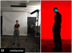 """Behind the scenes by and final image by @nickfancher: I made a 24"""" barn door snoot out of foam board which works almost as good as a gobo but it's way more portable. Folds flat to fit in my camera bag and light enough to affix to my flash. #studioanywhere #iso1200 #hardlight #famousbtsmag #strobist #chroma"""