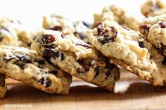 White Chocolate Cranberry Oatmeal Cookies (can substitute orange zest & juice for the vanilla).