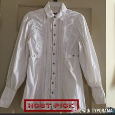 🎉HP 🎉 Free People Puffy White Sleeve Long Shirt 🎉Host Pick Styles Staples 2/27/16 🎉Worn Once!! size 6! Tuxedo front long shirt. White Puffy sleeves. Great Condition! Please ask all questions prior to buying! FIRM PRICE UNLESS BUNDLED Free People Tops Button Down Shirts