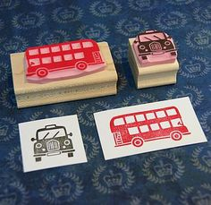 London Taxi And Bus Hand Carved Rubber Stamps. Not on the High Street by Skull and Cross Buns Eraser Stamp, Mini Bunting, Stamp Carving, Handmade Stamps, Tampons, Ink Pads, Illustrations, Free Baby Stuff, Taxi