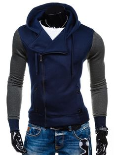 Side Zipper-Up Color Block Hoodie #shoes, #jewelry, #women, #men, #hats