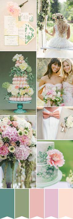 Déco de mariage bleu, vert, rose, pêche - http://www.mariageenvogue.fr/blog/index/billet/10845_un-fete-de-mariage-en-exterieur-bleu-vert-rose-peche