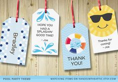 Pool party gift tags and favor tags to decorate gifts and favors #summer #pool #splash
