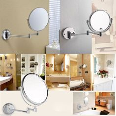 "Conair Chrome 8"" Wall Mount Cosmetic Mirror 5x Mag. Home Bath Decor Beauty  #Conair"