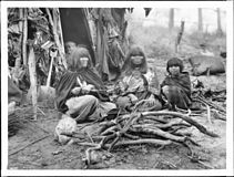 """Two Havasupai Indian women basket makers, ca. 1900. The women and a child sit on the ground in front of a house made of branches. They wear long dresses with shawls over their shoulders. They sit among firewood. A child peers out of the entry of the dwelling. A """"kathak"""", a large conical basket, lies on the ground at right."""