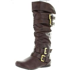 West Blvd Phoenix Slouch Fold Over Cuffed Slouchy Flat Knee High Boots ($40) ❤ liked on Polyvore featuring shoes, boots, brown, brown over-the-knee boots, slouch boots, slouchy over the knee boots, over-the-knee high-heel boots and knee high slouch boots