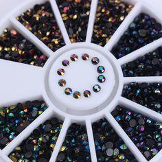 Black Shinning Rhinestones 3D Nail Art Decoration in Wheel Manicure Flat Bottom Nail Art Decoration Accessories 1 Box