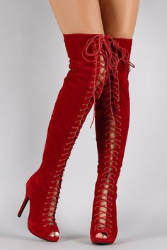 Suede Lace Up Peep Toe Thigh High Boot | Boots Baby! | Pinterest ...