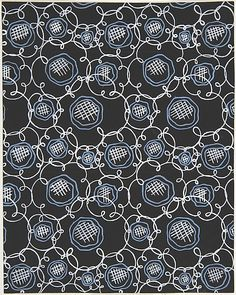 [Attributed to Paul Poiret] (French) Gouache and Stencil over Graphite, Fabric Design with Blue Flowers (ca. 1918–1925)
