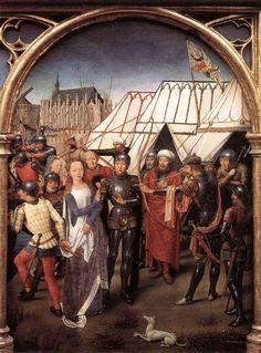 St Ursula Shrine: Arrival in Cologne (scene 6) 1489. Oil on panel, 35 x 25,3 cm. Memlingmuseum, Sint-Janshospitaal, Bruges