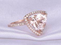 10mm Trillion pink morganite Engagement ring,new design morganite ring,solid 14k Rose gold,diamond Wedding Band,Halo,Custom ring #weddingring