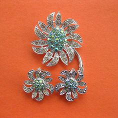 """Signed & Spectacular, Sarah Coventry, """"Mountain Flower"""" Brooch & Earrings"""