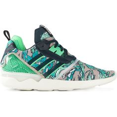 Adidas Originals Tubular Sneakers ($95) ❤ liked on Polyvore featuring shoes, sneakers, green, green sneakers, multi colored sneakers, lacing sneakers, lace up sneakers and round cap