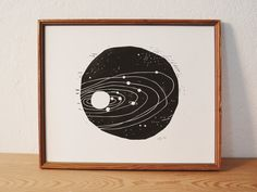 space 1 · original linocut · Limited Edition · DIN A4