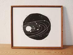 space 1 · original linocut · Limited Edition · DIN A4