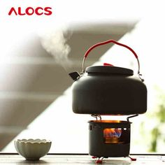 ALOCS CW - K04 PRO Outdoor 1.4L Kettle Teapot + Spirit Burner Camping Cookware Kit-51.87 and Free Shipping| GearBest.com