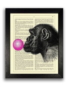 This Chimp With Bubblegum Dictionary print is sold by ThePrintCave on etsy.com. It does not come framed, but Fast Frame Mission Viejo would love to help you take care of that, and any of your other framing needs. Click the image to go to the Fast Frame website for more information. Print link: https://www.etsy.com/listing/218759115/chimp-with-bubblegum-art-print-funny?ga_order=most_relevant&ga_search_type=all&ga_view_type=gallery&ga_search_query=kids%20bedroom%20wall%20art&ref=sr_gallery_8