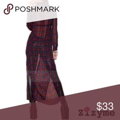 Red Plaid See Thru Long Cardigan 100% Rayon. Button down style cardigan! See thru. Fits true to size. Sweaters Cardigans