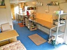 Blog - HilltopCloud caravan converted to dye studio. I like how the stainless steel work table is raised with wood to make it the right hight for her - brilliant idea!