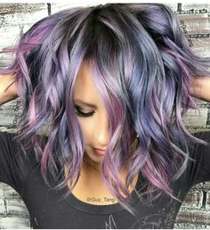 Guy tang magic hairdo hair styles, metallic hair dye, dyed h Hair Color And Cut, Cool Hair Color, Vivid Hair Color, Funky Colored Hair, Pastel Hair Colors, Crazy Colour Hair Dye, Hidden Hair Color, Funky Hair Colors, Ombré Hair
