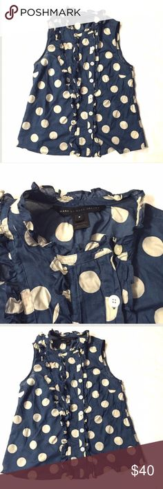 """Marc by Marc Jacobs Blue Polka Dot Top Size 2 Lightweight polka dot blouse with ruffle detail.  Armpit to armpit 16"""" length 23"""".  Woven cotton.  Size 2 Marc by Marc Jacobs Tops Blouses"""