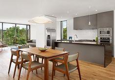 #kitchen #greykitchen #kitchendining | http://meccinteriors.com/designbites/crazy-for-colour-in-a-tense-environment/
