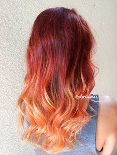 Red Fire Balayage Ombre Hair using OLAPLEX + SCHWARZKOPF