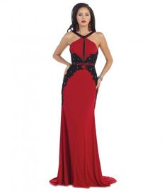 This is a red jersey gown with black lace detailing throughout the dress. The halter neckline and low back add the perf....Price - $224.00-kAUObqrs