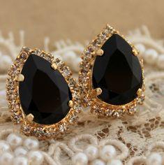 Black and gold Crystal big teardrop stud earring - 14k plated gold post earrings real Swarovski rhinestones .. $43.00, via Etsy.
