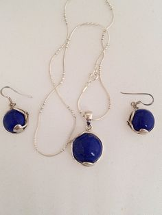 Lapis Lazuli Gold Flake Blue Necklace Earring by HauteCoutureLaLa