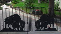 Plasma cut Buffalo gate - Buffalo ranch in Canada