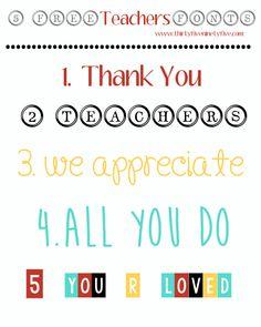5 Free Teachers Fonts  ~~ {w/ links}