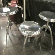 Wilson Stool - polished nickel and adjustable