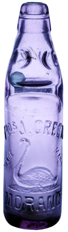 Purple glass Green, Morang (Swan trade mark). Dobson type Codd or marble bottle. c1900s