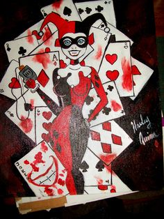 A few cards short of a deck, A Harley Quinn painting. $30.00, http://www.etsy.com/listing/95593744/a-few-cards-short-of-a-deck-a-harley