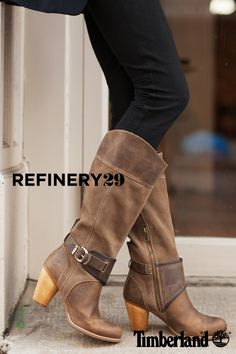 Timberland Wood Stacked Heel Buckle, Nevali Tall Boot. @refinery29 (Photo credit: Marc Iantosca)