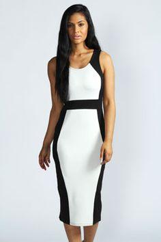 ce2f1235e6 Megan Contrast Colour Detail Sleeveless Midi Dress Black White Fashion