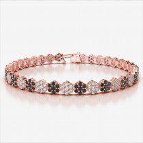 Rose Gold BlackDiamond & Diamond Bracelet AGBRL-1028-VSFG