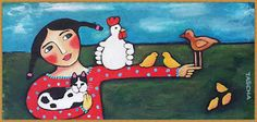 You Will Love Our Lovely Designs :): Acrylic Colour Painting - Girl and Chicken