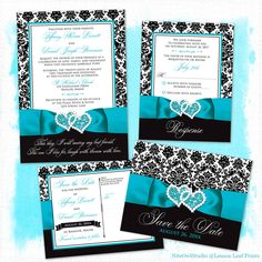 Black and white damask wedding suite with turquoise or teal blue printed on ribbon and double hearts jewel and glitter brooch